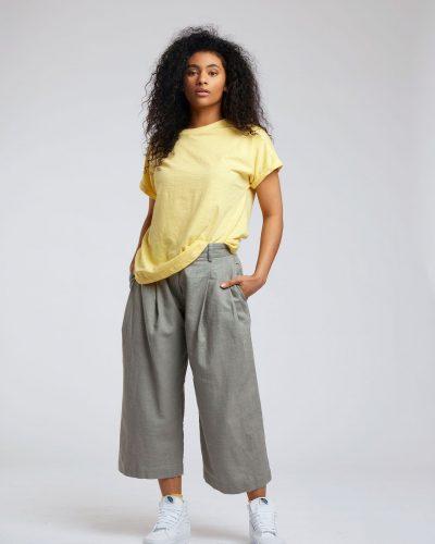 Pantalon ancho Lino orgánico algodón kaki gris tobillero pinzas