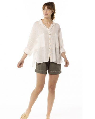 Camisa viscosa blanca Biodegradable hecha en españa