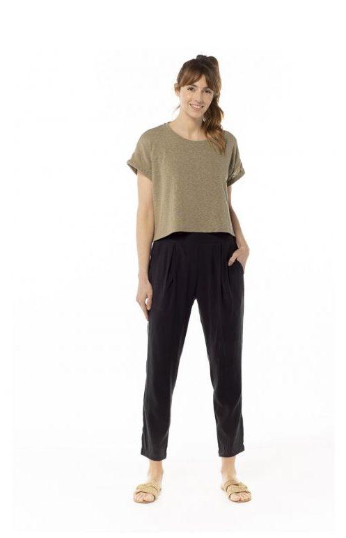 Camiseta costura verde kaki 70% algodódon orgánico 30% poliester