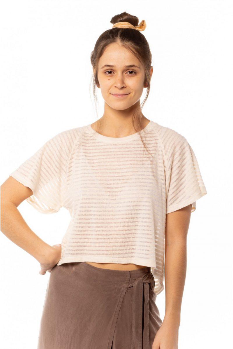 Camiseta listada transparente crema, Tienda online comprar ropa ecológica y moda sostenible al mejor precio.