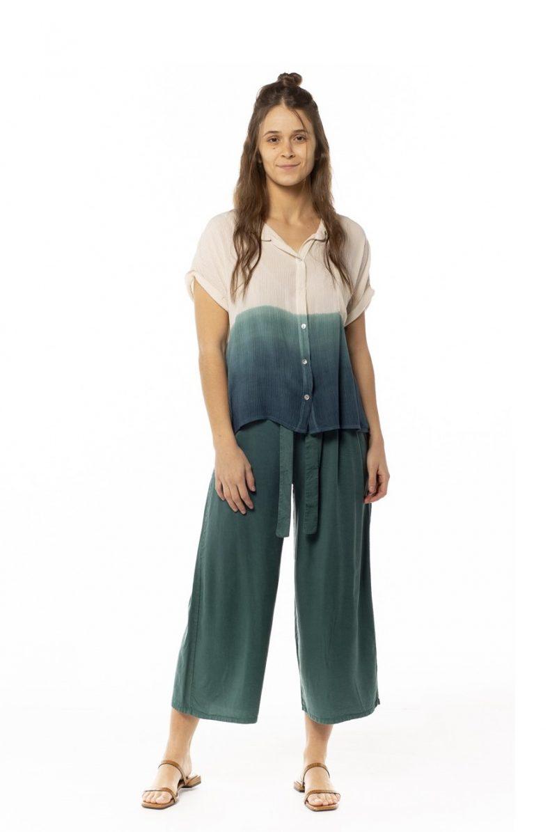 Pantalón pinzas tencel verde turquesa